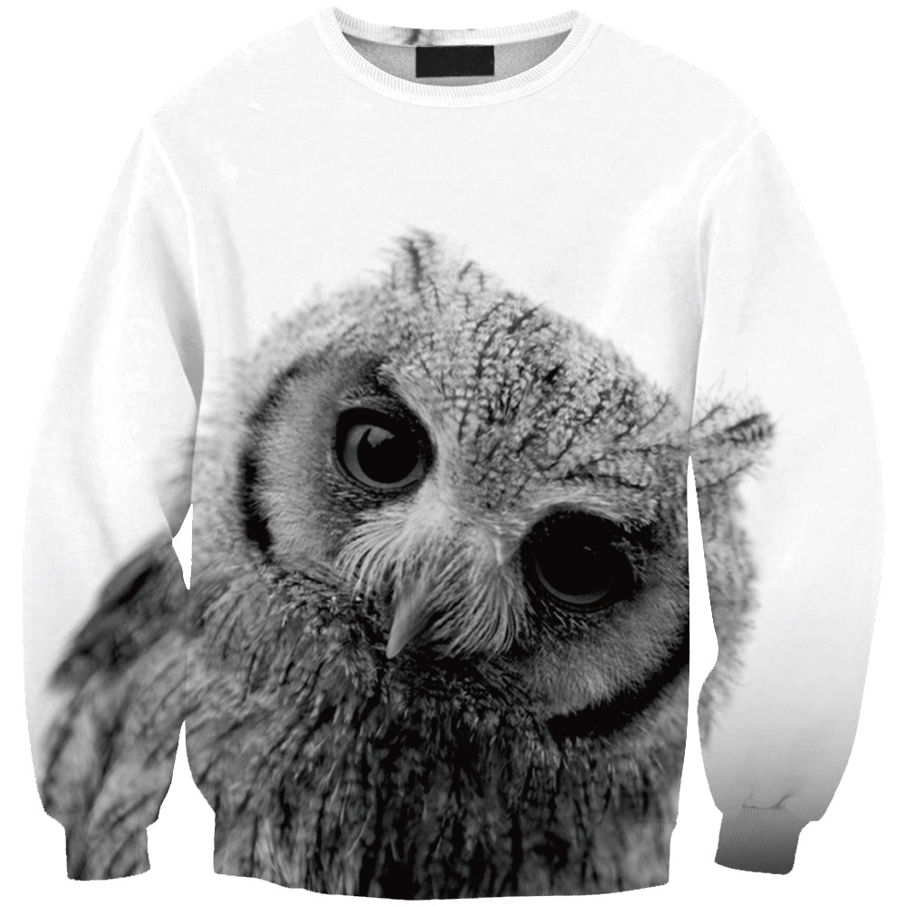 Harajuku Sweatshirts Men Women Long Sleeve Outerwear 3D Print Black And White Owl Sportweat Pullovers Clothing Plus S-5XL R3195