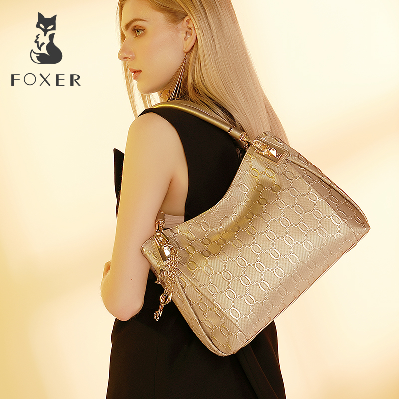 FOXER Brand Women Cow Leather Shoulder bag Fashion Design High quality Women's Handbag Female Handbags Tote Purse foxer brand women s leather handbag fashion female totes shoulder bag high quality handbags