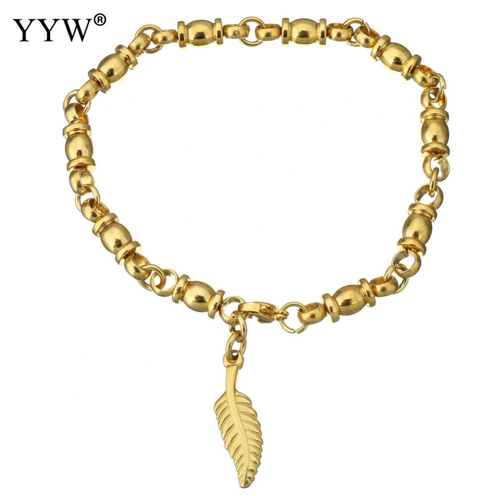 Stainless Steel Jewelry Bracelet Leaf gold color plated charm bracelet & for woman 8x26mm 20x6mm Sold Per Approx 8.5 Inch Strand
