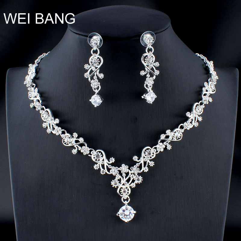 WEIBANG Wedding Jewellery Flower Shaped Set Necklace Long Earrings Set Crystal Silver Color Dress Accessories dropshipping