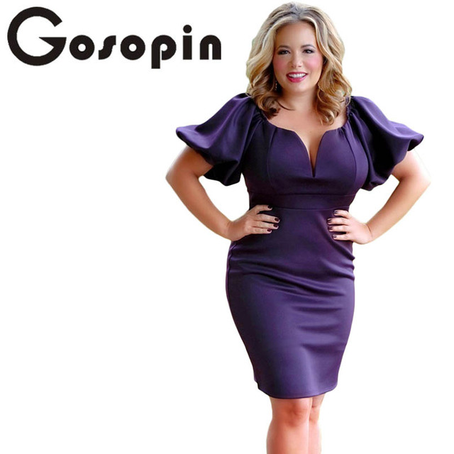 0b780af8ee Gosopin Puff Sleeve Plus Size Bodycon Dress Elegant Office Ladies Work Wear  Summer Mini Queen Style Women Party Dress 220271