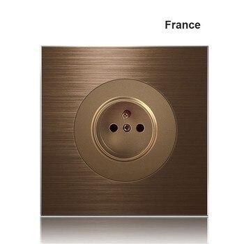 86 type 1 2 3 4 gang 1 2way Coffee aluminum alloy panel Switch socket  Five hole Europe Industry Switch France Germany UK socket 9