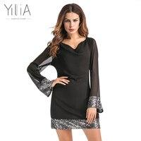 Yilia 2017 Frauen Herbst Sommer Minikleid Sexy Pailletten Patchwork Schwarz Chiffon Umschalt Seethrough Party Kleider Club Tragen Vestidos