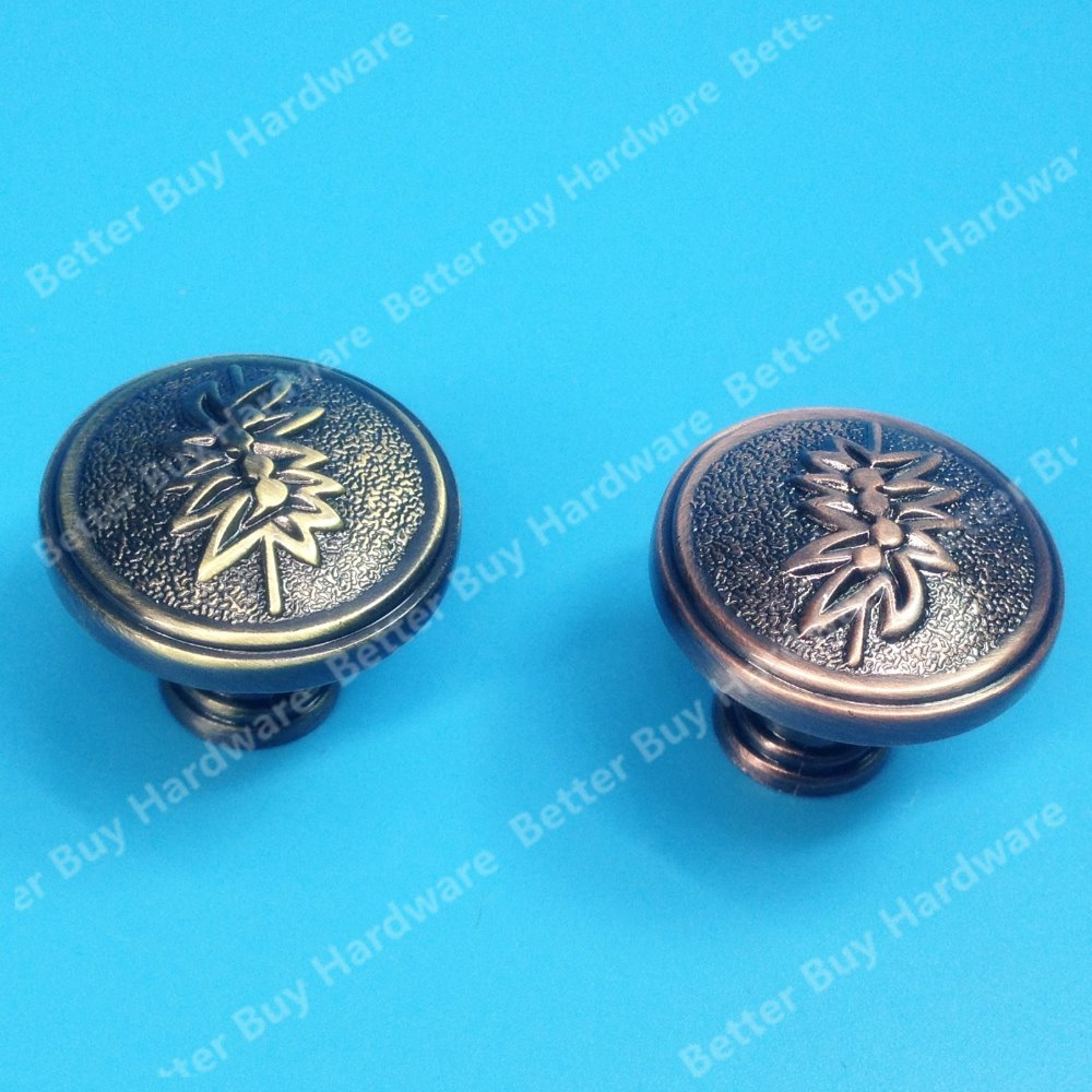 Single Knob Antique Brass/Red Copper Zinc Alloy Kitchen Furniture ...