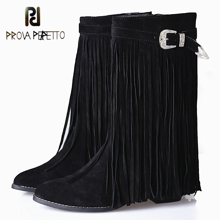 Prova Perfetto Winter Full Fringes Mid-calf Boots Euramerican Chunky High Heel Tassels Cow Suede Leather Pointed Toe Martin Boot prova perfetto autumn winter new genuine leather low heel women mid calf boots round toe thick bottom comfortable martin boots