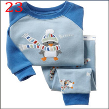 New 2017 Autumn and Winter O Neck Long Sleeve Cartoon Printed Pajama Sets Sleepwear Pajamas For Boys and Girls 2-7 Years Old