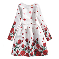 New 2017 Autumn Winter Girls Dress Kids Floral Print Dress Long Sleeve Fashion European American Retro Teenage Girls Clothing