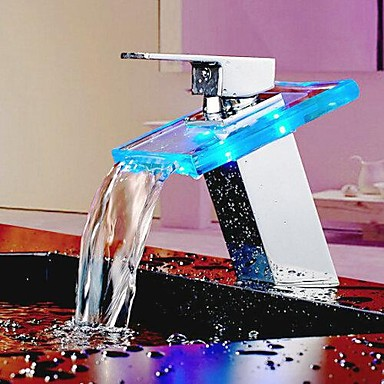 Bathroom Basin Faucet Color Changing Glass LED Waterfall Faucet Tap,Torneira Para Banheiro color changing led waterfall tap for bathroom sink faucet torneira para de banheiro