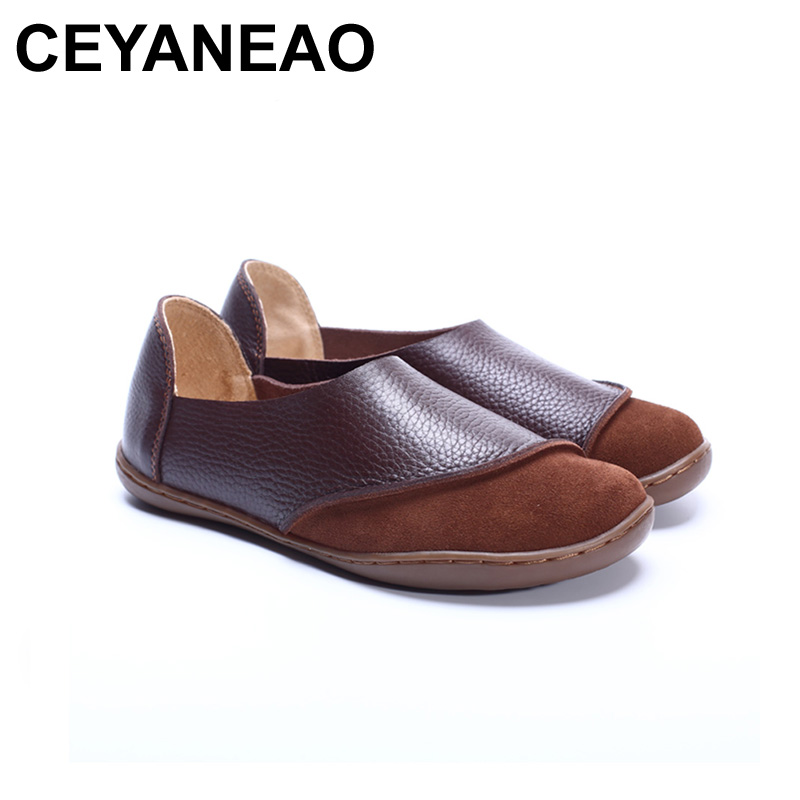 CEYANEAO  Women Shoes Hand-made Genuine Leather Ladies Flat Shoes Round Toe Slip on Loafers Moccasins Women Footwear (5188-2)CEYANEAO  Women Shoes Hand-made Genuine Leather Ladies Flat Shoes Round Toe Slip on Loafers Moccasins Women Footwear (5188-2)