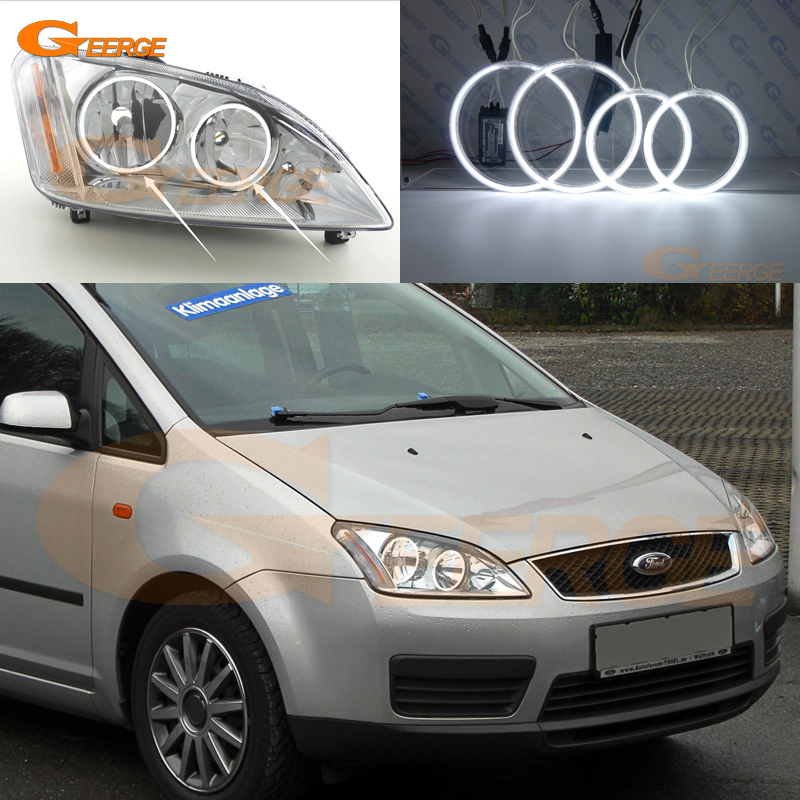 For Ford Focus C-Max 2003 2004 2005 2006 2007 Halogen headlight Excellent Ultra bright illumination ccfl angel eyes kit for alfa romeo 147 2000 2001 2002 2003 2004 halogen headlight excellent ultra bright illumination ccfl angel eyes kit halo ring