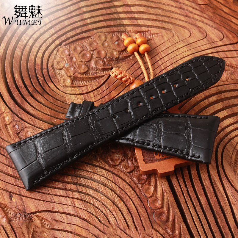 High quality Watchband crocodile Leather+cowhide leather bottom Watchbands customer size available black brown watches strap new customer satisfaction with service quality