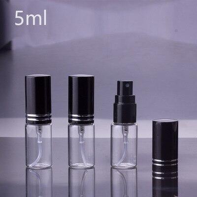 100 pçs/lote 5ml 10 ml 15ml portátil garrafa de perfume de vidro preto com atomizador recipientes cosméticos vazios para viagens
