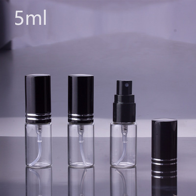 100 teile/los 5ml 10ML 15ml Tragbare schwarz Glas Parfüm Flasche Mit Zerstäuber Leere Kosmetische Behälter Für Die Reise