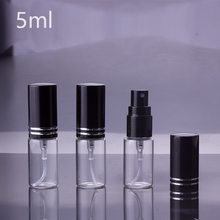 100pcs/lot 5ml 10ML 15ml Portable black Glass Perfume Bottle With Atomizer Empty Cosmetic Containers For Travel(China)