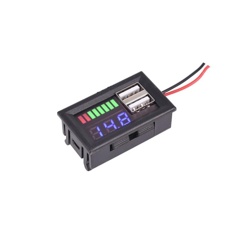 Multifunctional 12V LED Lead Acid Battery Capacity Indicator Voltage Meter Car Power Voltage Displayer Dual USB Charger 5V 2A