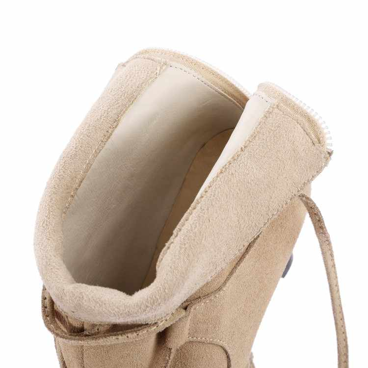 MLJUESE 2018 kadın botları İnek süet dantel kadar siyah renk çapraz kravat sivri burun yüksek topuklu kış yarım çizmeler boyutu 34-42
