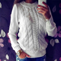 2017 Women Braided Sweater Casual Long Sleeve Base Sweater Tops Pullover Knitwear Jumper Knitted Sweater pull femme plus size