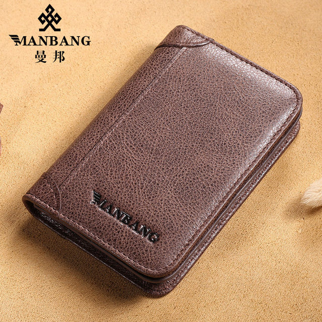 Manbang 2017 New Designer card bag genuine cowskin designer passport bag Card bags coffee/Khaki MBK1173