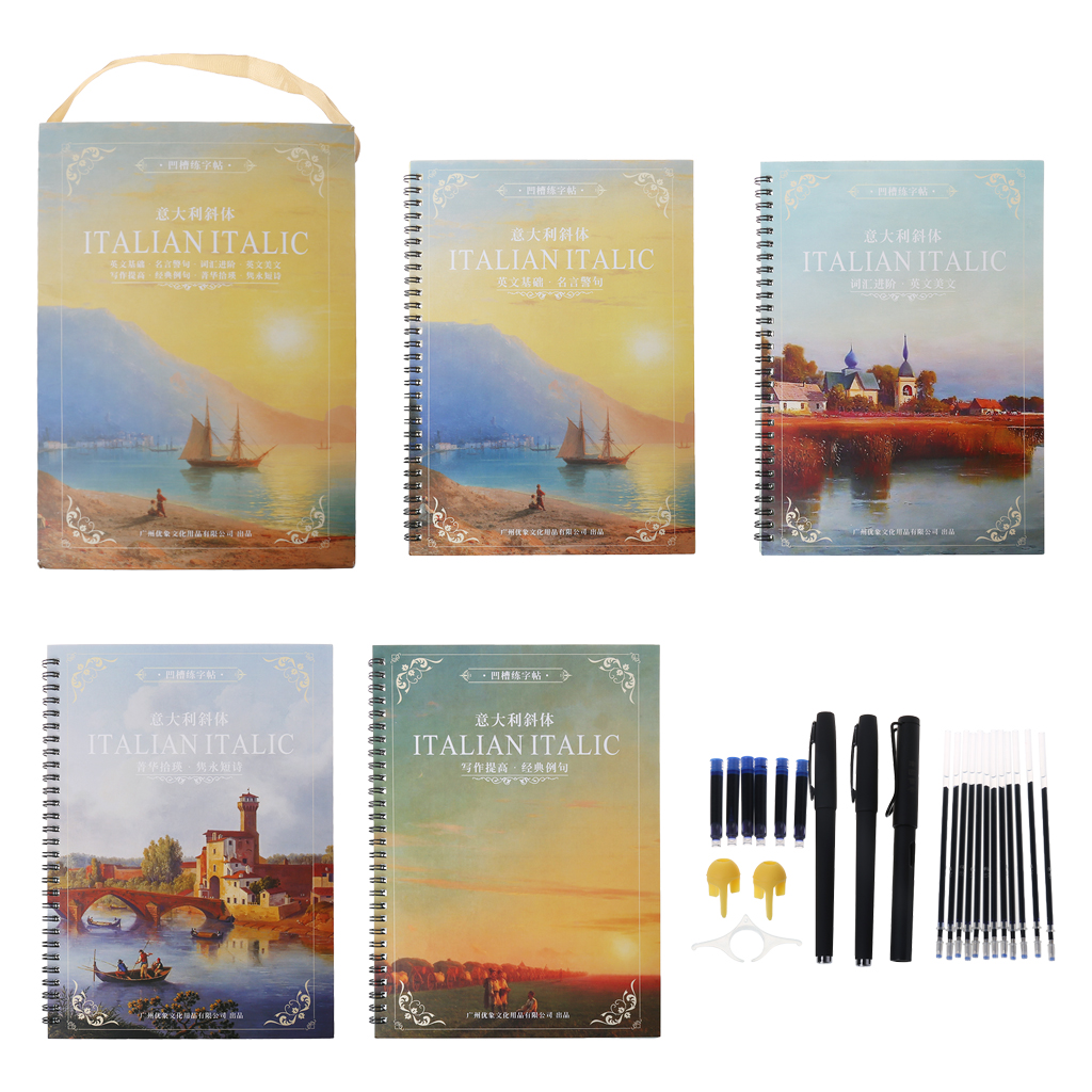 English Copybook Calligraphy Italic Handwriting Groove Practice With Pen Set Auto Fades Can Be Reused #326