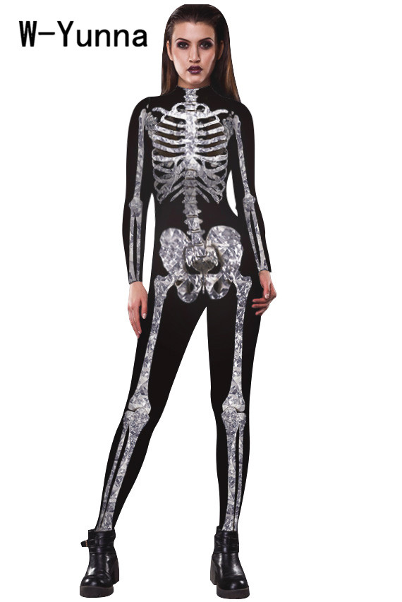 W-Yunna 2019 Halloween Adult Skeleton Print Costumes For Women Long Sleeves Collar Neck Rompers Womens Scary Devil Witch Women