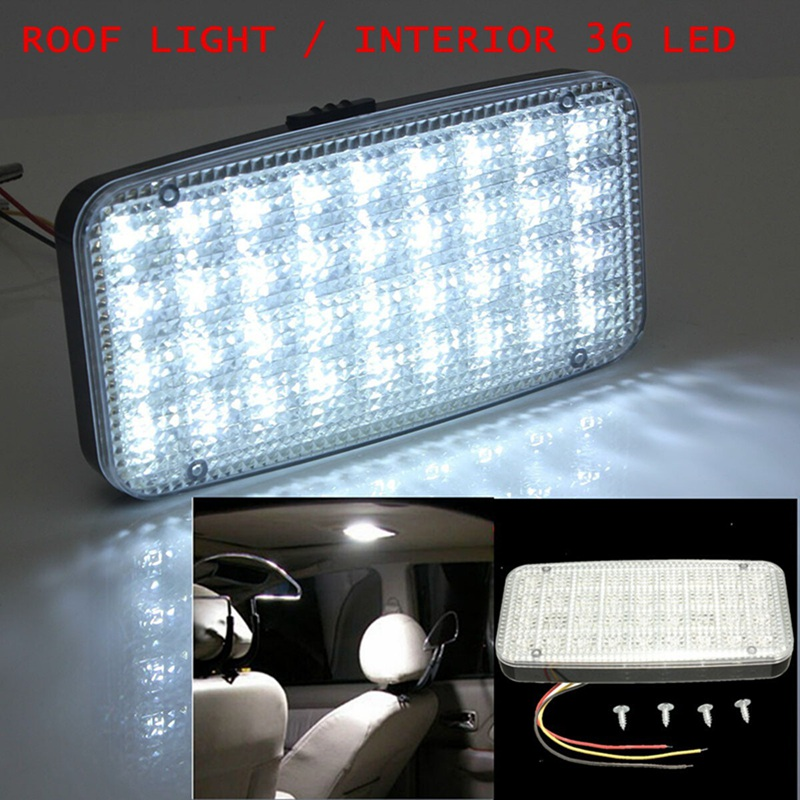 White 12V 36 LED Car Truck Auto Van Vehicle Ceiling Dome Indoor Roof Interior Light Lamp DC Universal Car Styling 37 led 6500k car ceiling dome white light 12v