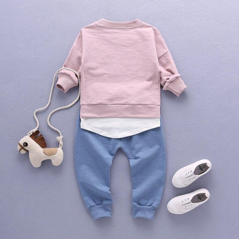 outono camiseta com capuz + calças compridas conjunto 2pcs