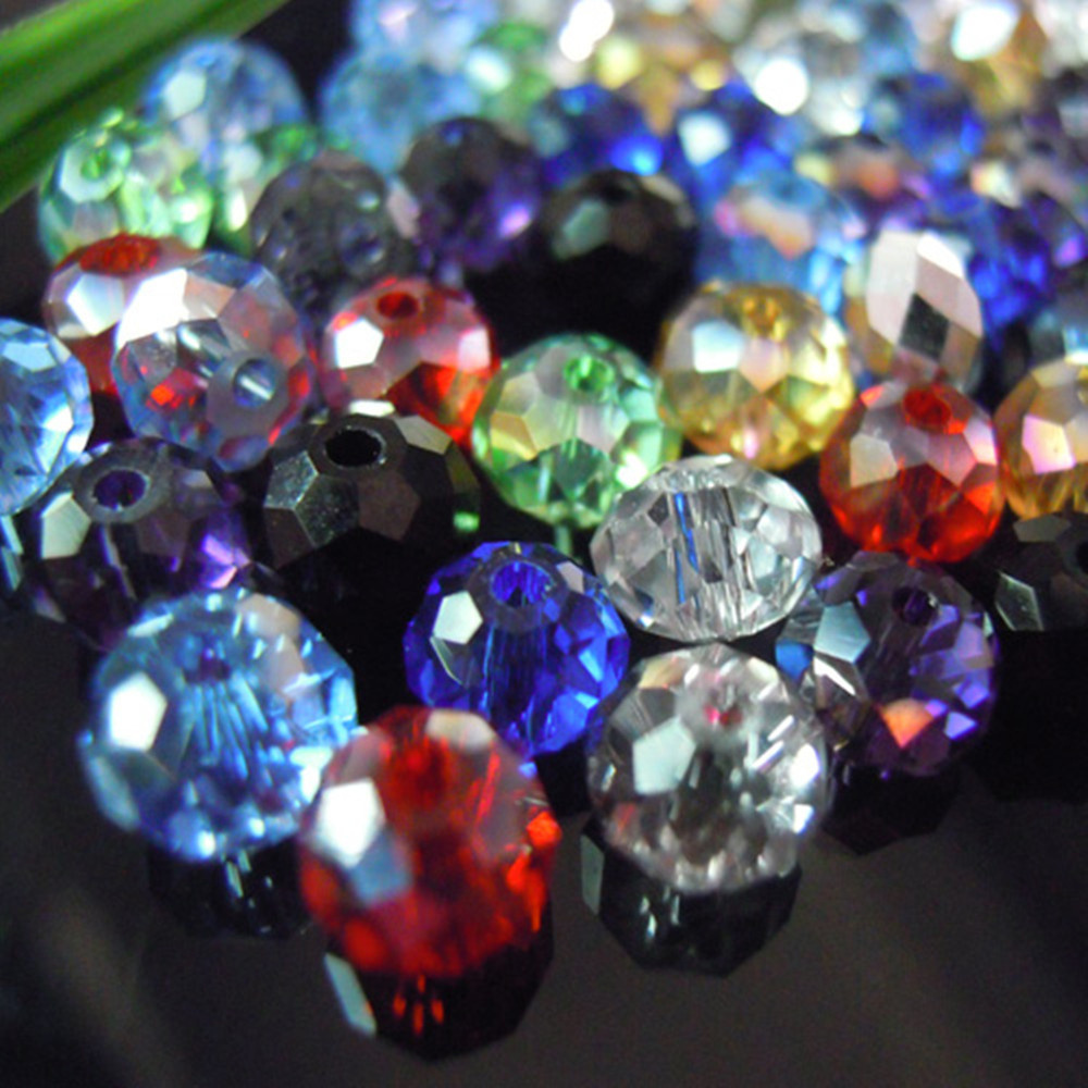 Isywaka Glass Beads Faceted Crystal Rondelle Loose-Spacer Jewelry-Making Mixed-Colors