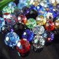 Colores mezclados 4*6mm 50 unids Austria Cristalina tallada Rondelle Espaciador de Los Granos Redondos de Cristal Flojo de Los Granos para La Joyería haciendo