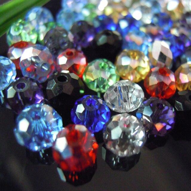 Isywaka Couleurs Mélangées 4*6mm 50 pcs Rondelle Autriche Cristal à facettes En Verre Perles Lâches Spacer Perles Rondes pour Fabrication de bijoux
