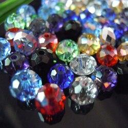 Isywaka Karışık Renkler 4*6mm 50 adet Rondelle Avusturya faceted Kristal Cam Boncuk Gevşek Spacer Yuvarlak Boncuk takı Yapımı
