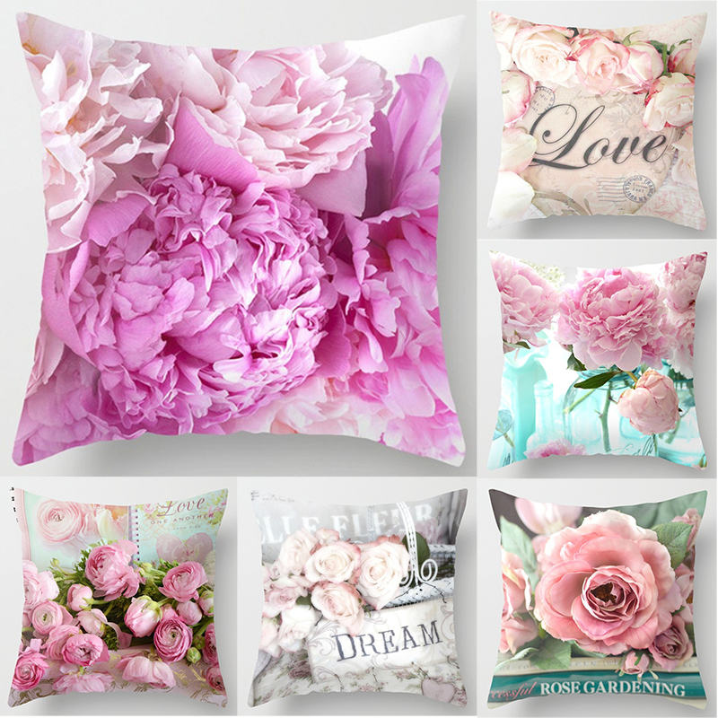 45*45cm Rose Flowers Cushion Cover Mediterranean Nordic Style Home Decoration Throw Pillow For Sofa Bed Car Pillow Case 40827