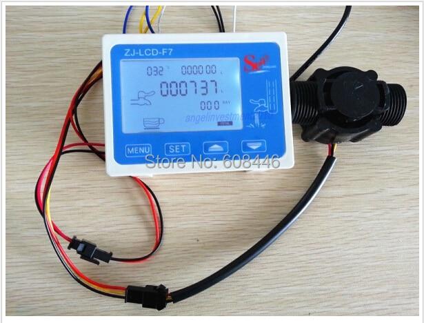 цена на Hall effect G 1 water Flow Counter/Sensor with Digital LCD Meter Gauge 24V