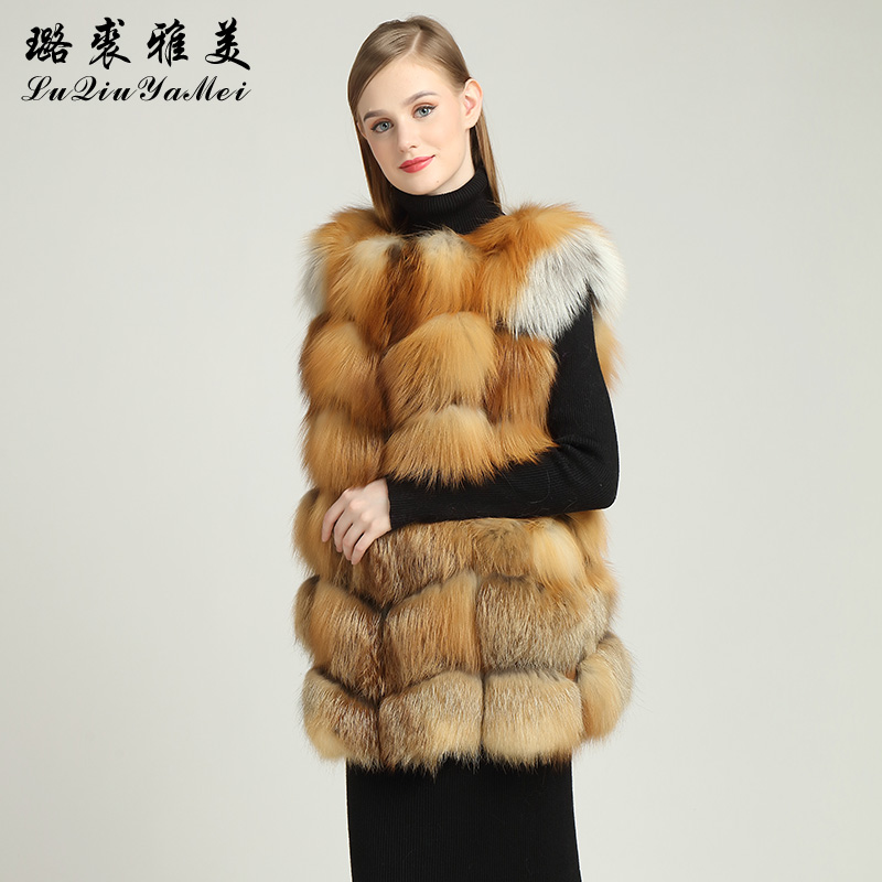 Red Fox Fur Sleeveless Waistcoat for Women Real Fox Fur ...