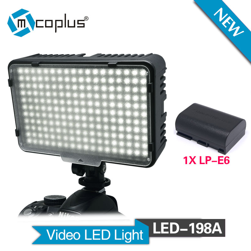 Mcoplus MCO-198A Video LED Light for Canon Nikon Pentax Panasonic Olympus & DV Camcorder Digital SLR Camera + 1pc LP-E6 Battery led телевизор panasonic tx 43dr300zz
