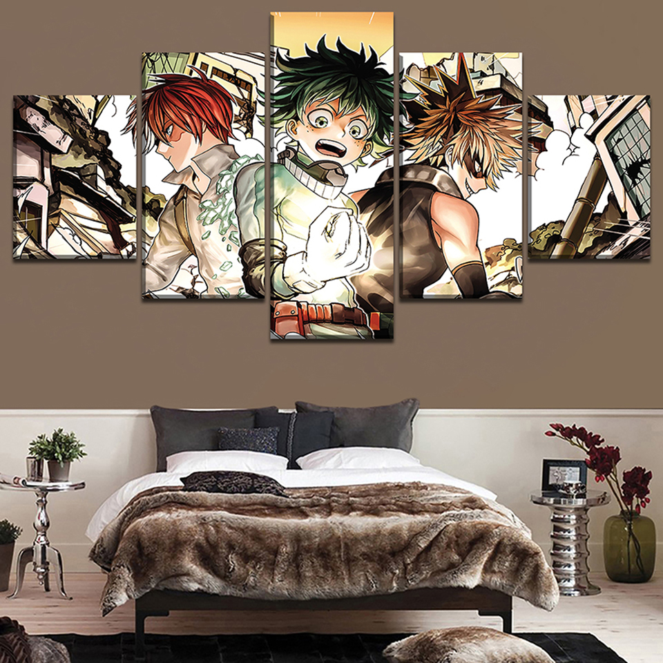 Modern Hd Home Decoration Canvas Painting 5 Pieces My Hero Academia Pictures Wall Art Prints Modular Anime Poster For Boy Room