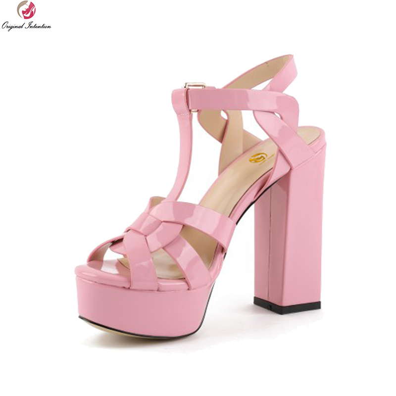 Original Intention Fashion Women Sandals Open Toe Chunky High Heels Sandals Summer Ladies Black Pink Shoes Woman US Size 4-8.5 original intention super fashion women sandals pointed toe thin heels sandals black grey nude pink shoes woman plus us size 4 15