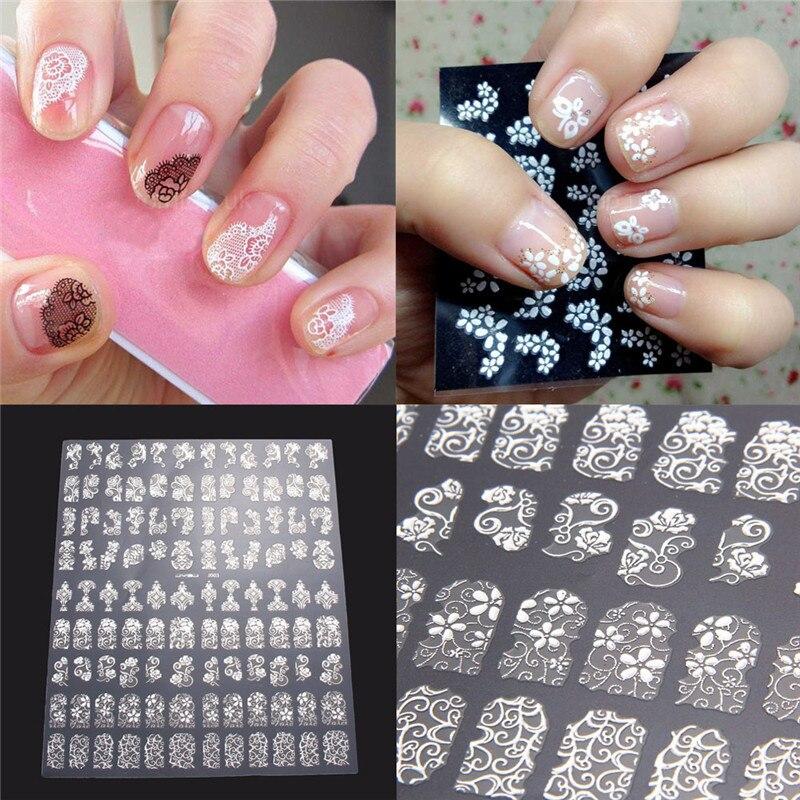 108Sheet 3D DIY Nail Stickers Golden Silver Pink Flower Design Nail ...