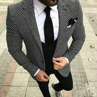 2018 Custom made Casual 3 Piece Men Business Suit Terno Slim Fit Black And White Plaid Prom Blazer Tuxedo For Men Wedding Suits