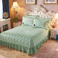 Thicker Warm Crystal velvet Quilted lace Bedspread Fitted Sheet Pillowcases Cotton 2/3pcs Solid Princess Lace Bedding Bed
