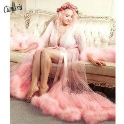 Blush Roze Veer Bruids Robe Tulle Illusion Huwelijkscadeau Ceremony Party Wear Kamerjas