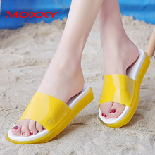 2019 Beach Jelly Slippers Women Summer Shoes Woman Indoor Slippers Flat Sandals Yellow Slides Ladies Flip Flops zapatos de mujer women cute fruit decor flip flops sandals shoes woman girls clip toe flat plate flip flop summer beach sandals zapatos mujer