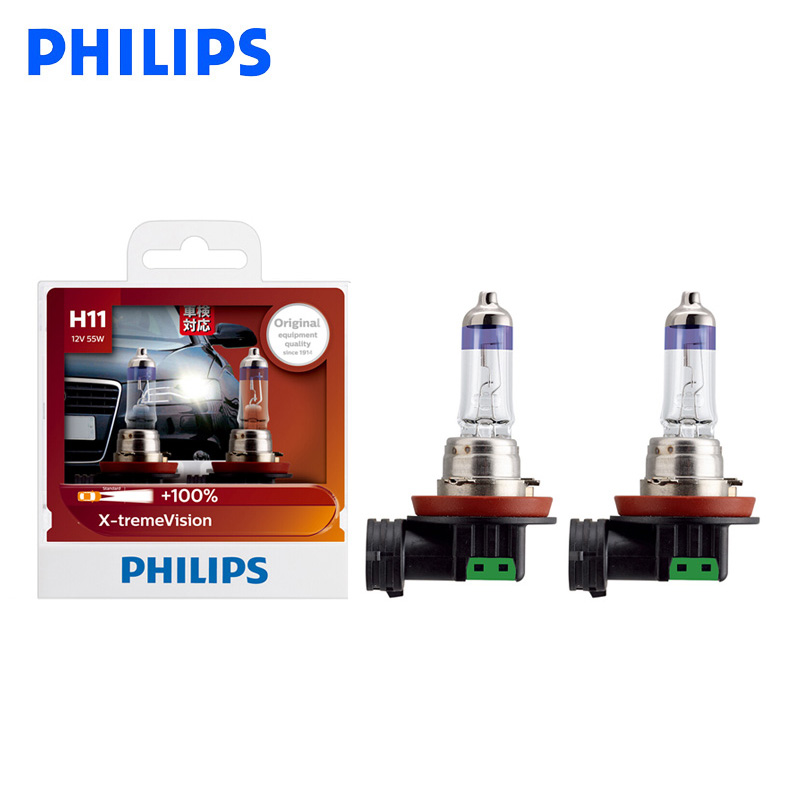 Philips <font><b>H11</b></font> 12V 55W <font><b>PGJ19</b></font>-<font><b>2</b></font> X-treme Vision Car Headlight Bright Halogen Fog Lamps ECE Approve 100% More Vision 12362XV S2, Pair image