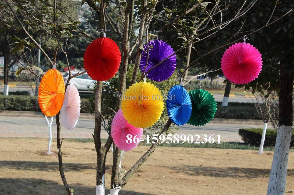 SPR 10pcslot 25 cm Wedding party paper decoration birthday party wedding arrangement paper fan paper flowers balls