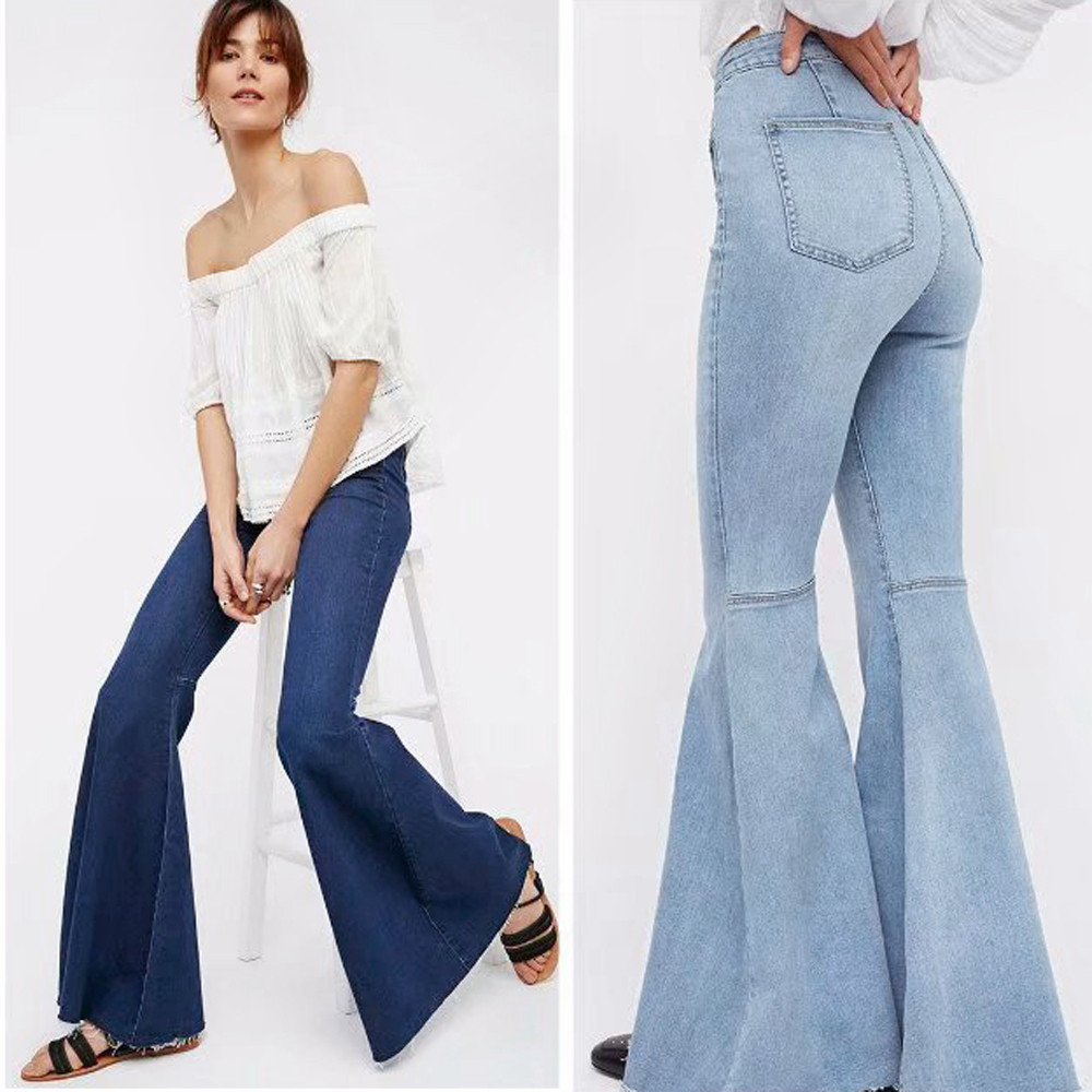 Women Jeans Denim Female High Waist   Wide     Leg     Pants   Pure Color Stretch Slim Sexy Horn   Pants   Skinny Sexy Danny Trousers