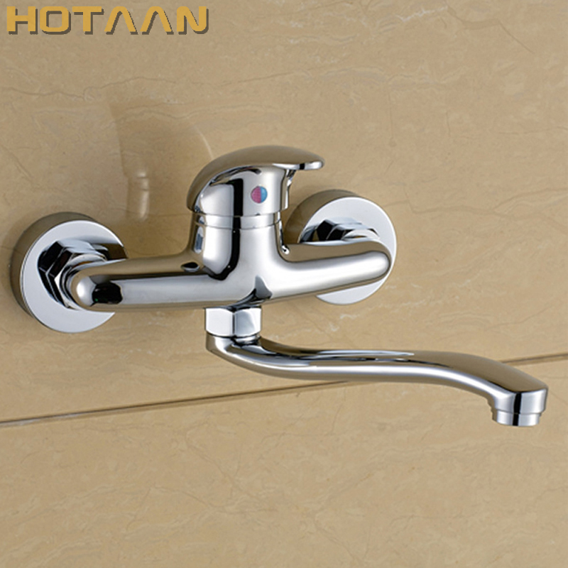 FREE SHIPPING Brass Chrome Taps For Kitchen Sink Kitchen Tap Dual Hole Wall Kitchen Mixer Kitchen Faucet Torneira Cozinha YT6033