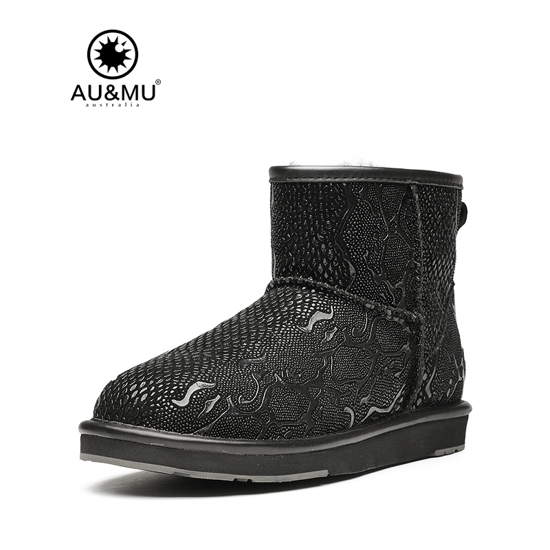 Women 2017 New Arrival Top Fashion Fur Flat With Winter Slip-on Round Toe Rubber Winter Boots Botas Mujer Snow Boots Aumu N045
