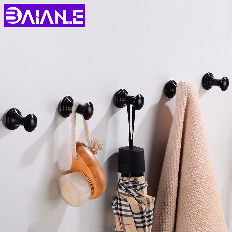 . US  3 9 35  OFF Robe Hook Wall Mounted Bathroom Towel Hook Black Aluminum  Vintage Coat Hanger Hooks Single Decorative Bag Key Hat Clothes Rack in  Robe