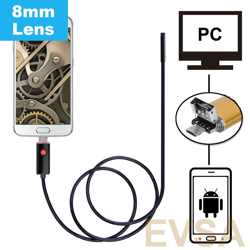 8mm Lens HD 2MP 1/2/5/10m Android USB Endoscope IP67 Waterproof Inspection Borescope Tube Camera for OTG Android Phone And PC 2018 new endoscope android pc usb inspection camera 8mm 2mp 720p hd borescope video cam 6 adjustable led night vision