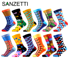 SANZETTI Mens Colorful Combed Cotton Happy Novelty Socks Hip Hop High Quality Skateboard Plaid Geometric Funny For Gifts