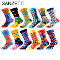 SANZETTI Men's Colorful Combed Cotton Happy Novelty Socks Hip Hop High Quality Skateboard Plaid Geometric Funny Socks For Gifts